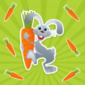 Rabbit with carrot- vector illustration eps