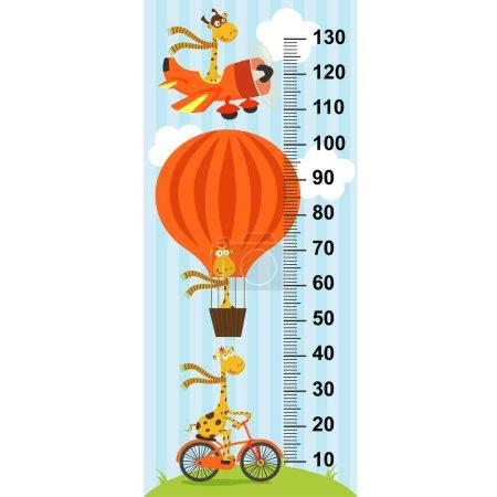 giraffe on transport height measure - vector illustration, eps
