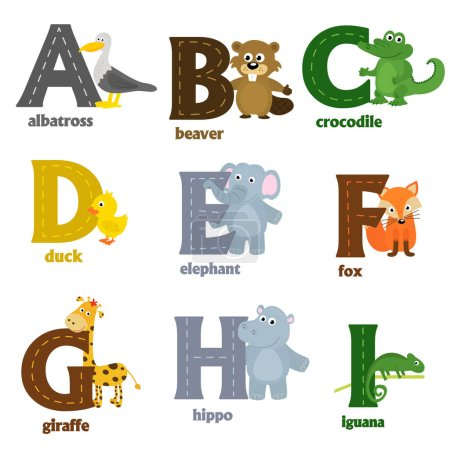 alphabet with animals A to I
