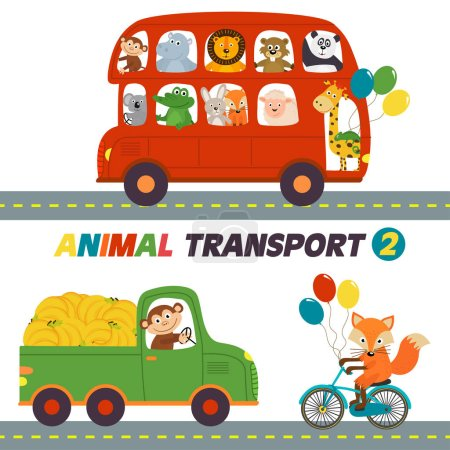 Photo for Set of isolated transports with animals part 2 - vector illustration, eps - Royalty Free Image