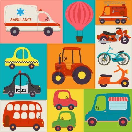 Illustration for Seamless pattern with fun transports - vector illustration, eps - Royalty Free Image