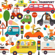 Seamless pattern transports with animals - vector ...