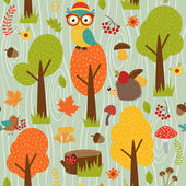 seamless pattern with animals of forest on green background