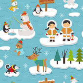 seamless pattern with Eskimos and arctic animals on ice floes