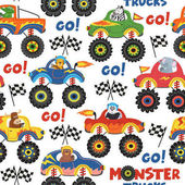 Poster seamless pattern monster trucks with