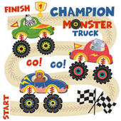 Poster monster trucks with animals on