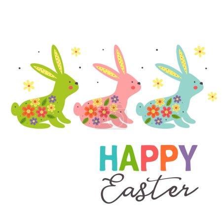 Illustration pour Carte de vœux avec trois lapins de Pâques colorés sur fond blanc illustration vectorielle, eps - image libre de droit