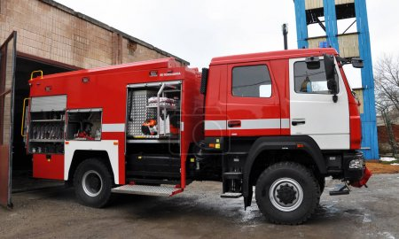 Photo for Chortkiv - Ternopil - Ukraine - February 2, 2018. Modern fire and rescue car state fire and rescue unit in the city of Chortki - Royalty Free Image