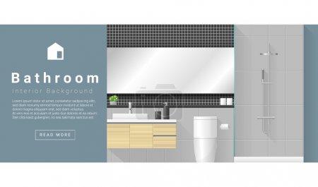 Illustration pour Design d'intérieur Fond de salle de bain moderne, vecteur, illustration - image libre de droit