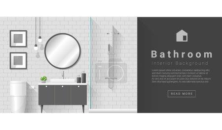 Illustration for Interior design Modern bathroom background , vector, illustration - Royalty Free Image