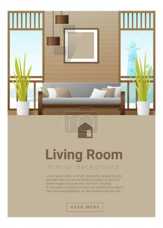 Illustration for Interior design Modern living room banner , vector, illustration - Royalty Free Image