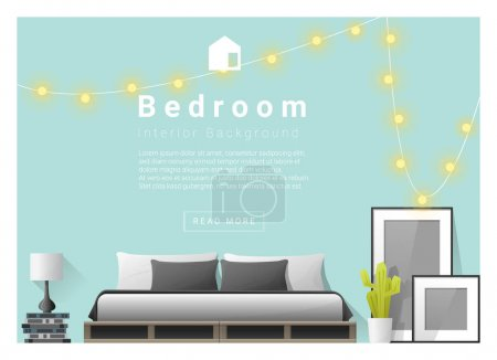Illustration for Interior design bedroom background, vector , illustration - Royalty Free Image