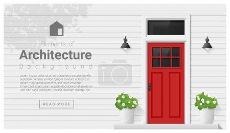 Elementos de la arquitectura, fondo de la puerta principal, vector, ilustración