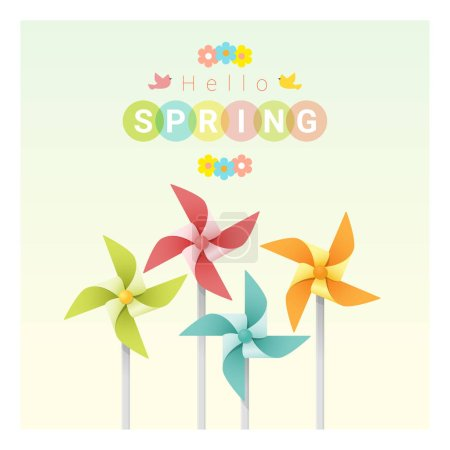Illustration for Hello spring background with colorful pinwheels , vector , illustration - Royalty Free Image