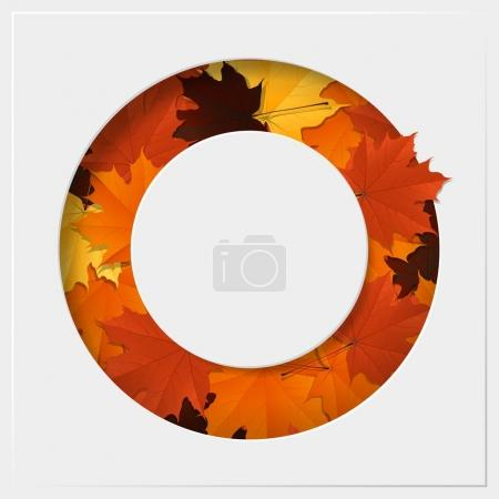 Hello autumn with colorful leaves on geometric paper cut background , vector , illustration