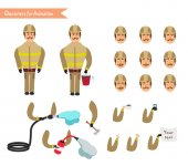 Set for animation of firefighter in uniform protective suit with axe fire hose cartoon vector illustration isolated on white background Young firefighter fireman set