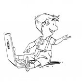 The boy sits with his laptop New generation Game and the Internet Online education Black and white illustration