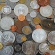 Постер, плакат: Background of Coins from different countries of the world old silver gold nickel coins and silver dollar