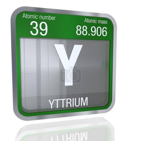 Photo pour Symbole de l'yttrium dans la forme carrée avec bordure métallique et fond transparent avec la réflexion sur la parole. rendu 3D. Numéro d'élément du tableau périodique des éléments - chimie 39 - image libre de droit