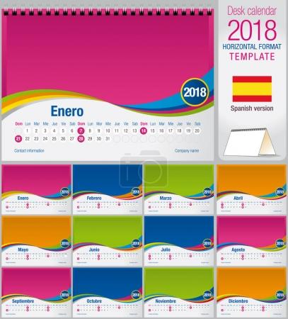 Desk triangle calendar 2018 colorful template. Size: 210mm x 150mm. Format A5.  Vector image. Spanish version