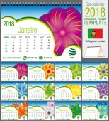 Desk triangle calendar 2018 template with abstract floral design Size: 21 cm x 15 cm Format A5 Vector image Portuguese version
