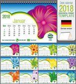 Desk triangle calendar 2018 template with abstract floral design Size: 21 cm x 15 cm Format A5 Vector image German version