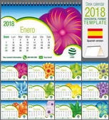 Desk triangle calendar 2018 template with abstract floral design Size: 21 cm x 15 cm Format A5 Vector image Spanish version