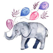 Cute illustration with baby elephant and balloons Watercolor hand drawn clip art perfect for baby shower invitations greeting cards and postcards