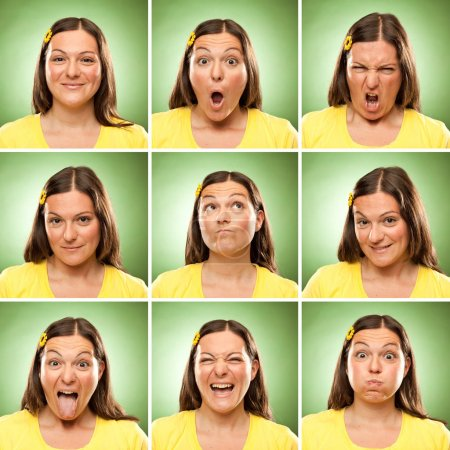 brunette long hair adult caucasian woman square collection set of face expression like happy, sad, angry, surprise, yawn on green
