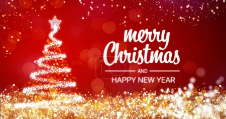 sparkling gold and silver lights xmas tree Merry Christmas and Happy New Year greeting message on red background,snow flakes,bright lights decoration.Elegant holiday season social post digital card