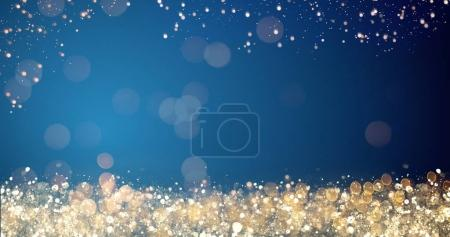 golden and silver xmas lights on blue background for merry christmas or season greetings message,bright decoration.Elegant holiday season social post digital card.Copy type space for text or logo