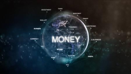 Photo for Technology earth from space word set with money in focus. Futuristic bitcoin cryptocurrency oriented words cloud 3D illustration. Crypto e-business keywords concept. - Royalty Free Image