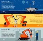 Robotics and automation horizontal banners set