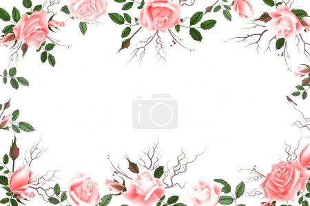 Illustration for Greeting card with roses, delicate buds, flowers, branches. Can be used as invitation card for wedding, birthday and other holiday and summer background. Vector illustration EPS10 - Royalty Free Image