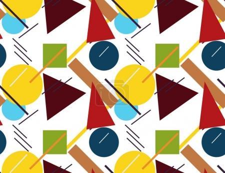 Illustration pour Coloré abstrait formes géométriques sur fond blanc. Modèle sans couture. Le supermatisme. Illustration vectorielle . - image libre de droit