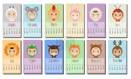 2017 year calendar with Kids in party Outfit. Children in Animal Carnival Costumes
