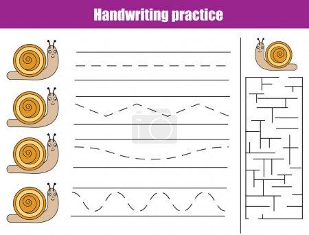Illustration for Handwriting practice sheet. Educational children game, activity. Writing training, animals theme. Printable worksheet for kids - Royalty Free Image
