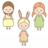 Cute usmívající se dívky znaků. Sladký karikatura malý děti v letních šatech