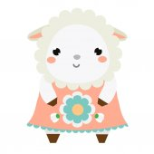 Cute sheep in dress Children style isolated design element Cartoon kawaii animal character Vector illustration for baby design