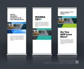 Vector set of modern roll Up Banner stand design with rectangles and diagonals for business building consulting Brochure and presentation for exhibition show fair