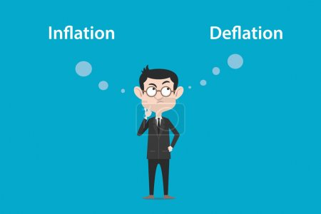 Illustration for Thinking about the difference of inflation vs deflation illustration with a white bubble text vector - Royalty Free Image