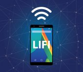 Iluustration symbol for Li-Fi or Light Fidelity using screen on mobile phone and symbol of signal vector
