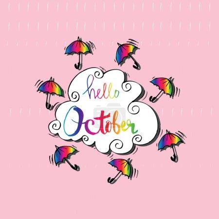 Photo pour Bonjour Octobre avec parasols . - image libre de droit