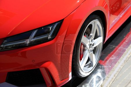 Photo for Body elements of modern red car. Close up shot - Royalty Free Image