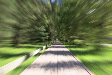 Photo for The effect of zooming on a long exposure, The track is blurry in motion - Royalty Free Image