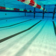 Wide angle underwater photo inside a swimming pool...