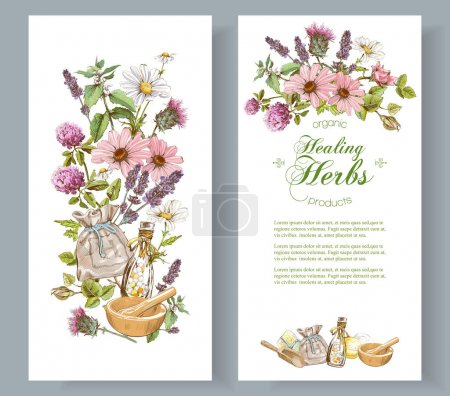 Illustration for Vector herbal cosmetics vertical banners on white background. Design for herbal tea, natural cosmetics, perfume, health care products, homeopathy, aromatherapy. With place for text - Royalty Free Image
