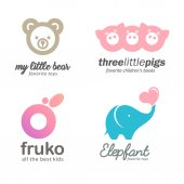 Set of logo baby goods children's books toys Kids club