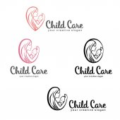 Set of Logos of child care motherhood and childbearing