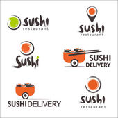 Collection of vector logos of sushi Logo design for restaurants of Japanese food